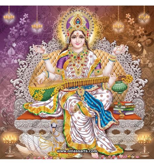 Devi Saraswati sitting on...