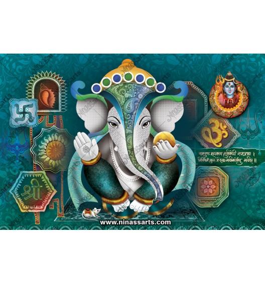 Lord Ganesha in green...