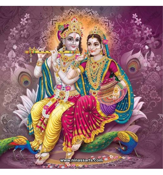 Krishna and Radha on lotus...